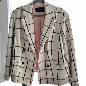 Rachel Roy White & Black Grid Pattern Lined Jacket